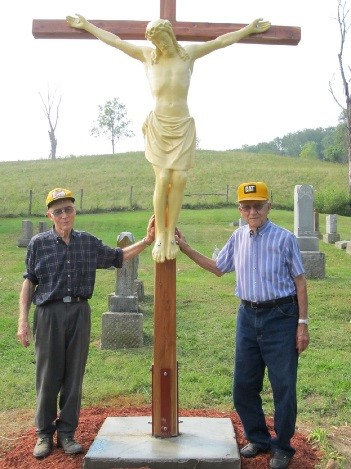 Alois Geyman and Paul Buchanan at St. Anthony Cememtery